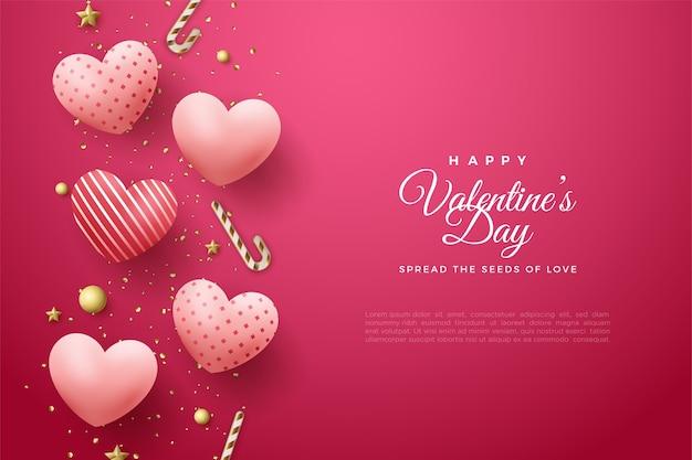 День святого валентина фон с красивыми воздушными шарами любви.