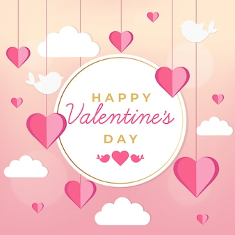 Valentine's day background with birds and clouds