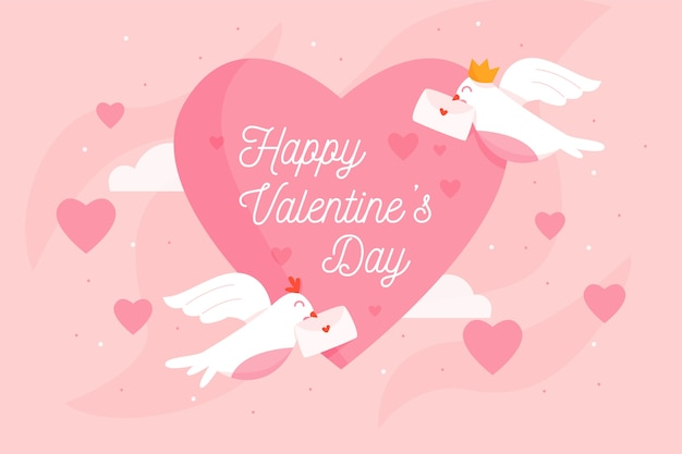 Valentine's day background with birds and envelopes