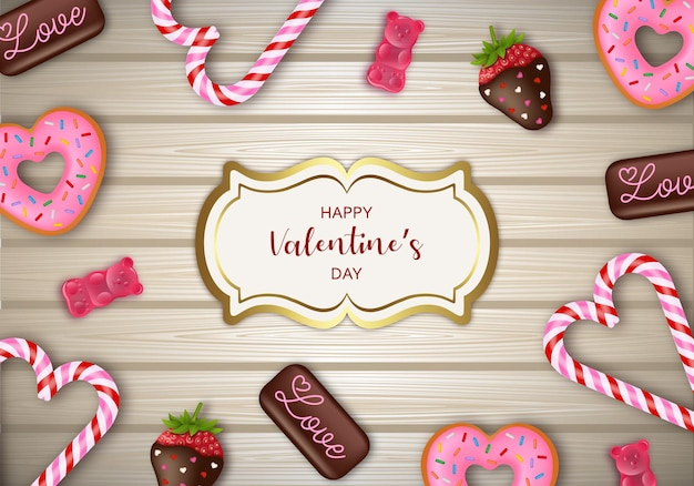 Valentine's day background with candies chocolates and sweets