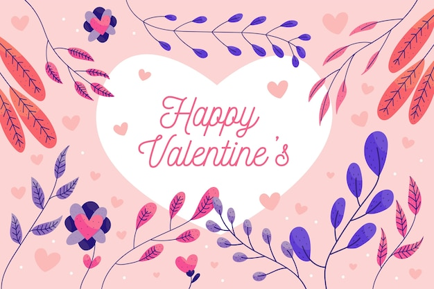 Valentine's day background with colorful leaves