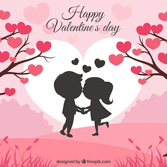 Valentine's day background with couple kissing