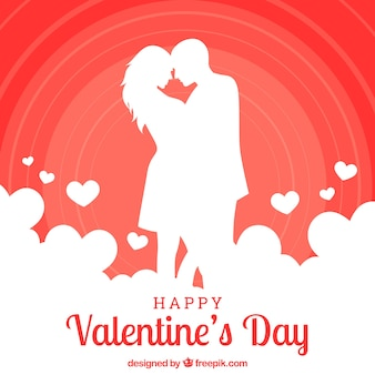 Valentine's day background with couple silhouette kissing