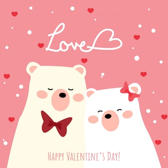 Valentine's day background with cute polar bear couple.