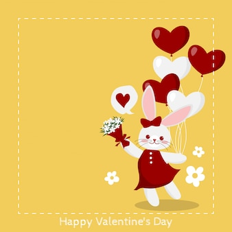 Valentine's day background with cute rabbit.