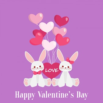 Valentine's day background with cute rabbits couple.