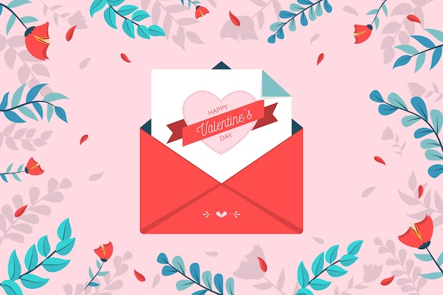 Valentine's day background with envelope