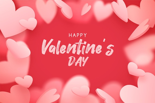 Valentine's day background with falling  pink hearts, romantic red background