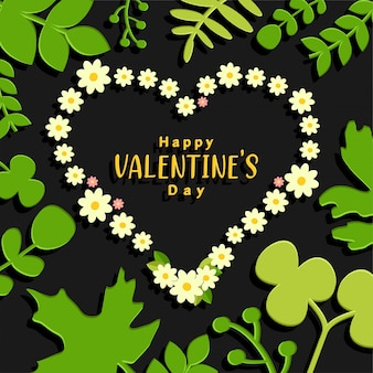 Valentine's day background with flowers and green leaves