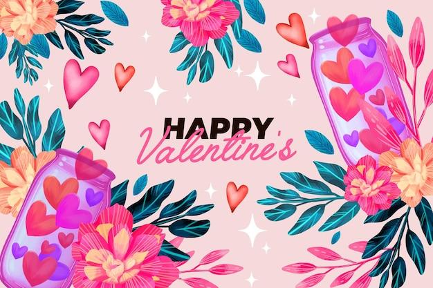 Sfondo di san valentino con fiori e auguri