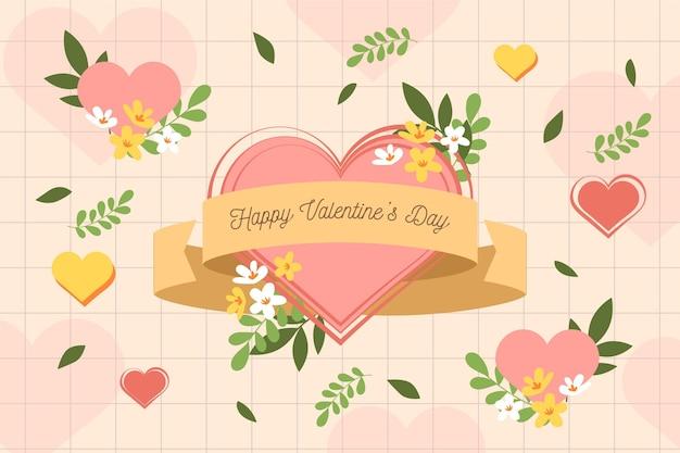꽃과 함께 발렌타인 데이 배경