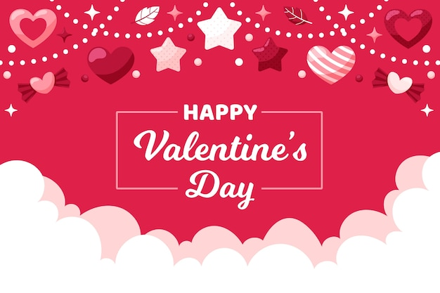 Valentine's day background with garland and stars