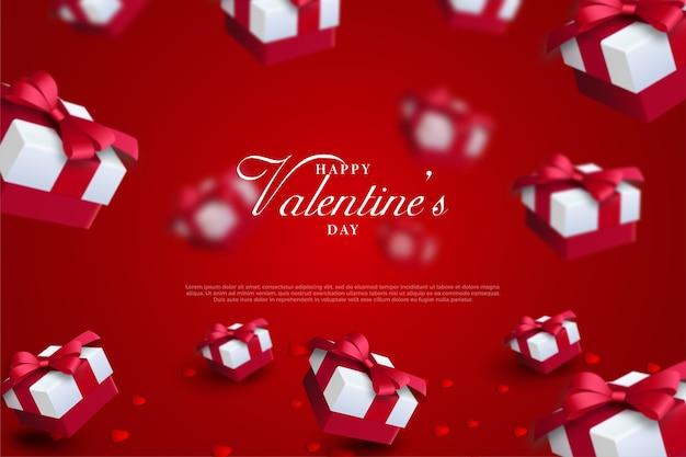 赤い背景にギフトボックスとバレンタインデーの背景。