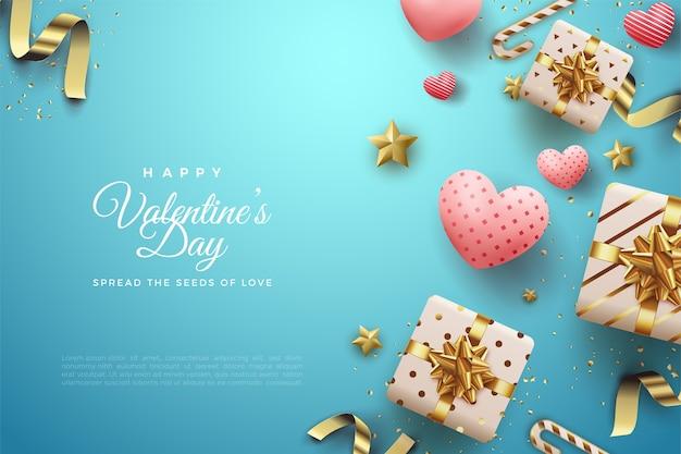 Фон дня святого валентина с подарочными коробками и другими украшениями на синем фоне.