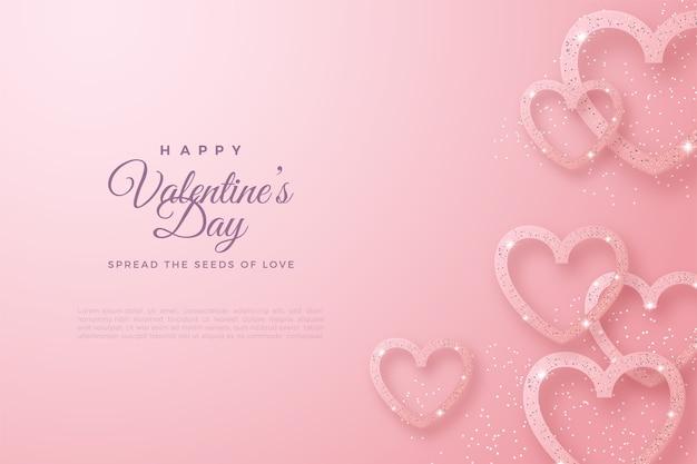 День святого валентина фон с блеском любви, образуя любовные линии.