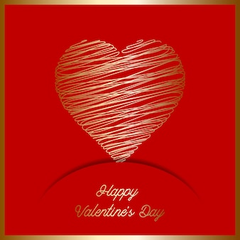 День Святого Валентина фон с золотым каракули сердцем