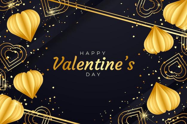 Valentine's day background with golden elements