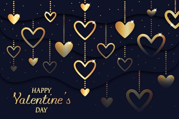 День святого валентина фон с золотыми сердечками
