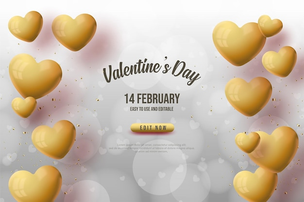 Valentine's day background with golden love balloons.