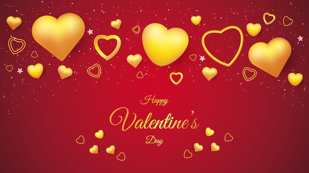 黄金の愛の形でバレンタインデーの背景