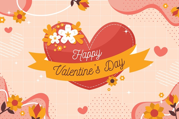 Valentine's day background with greeting and heart