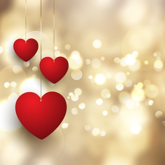 Valentine's Day background with hanging hearts on bokeh lights design