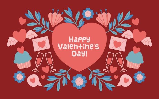 День святого валентина фон с сердцем и приветствием