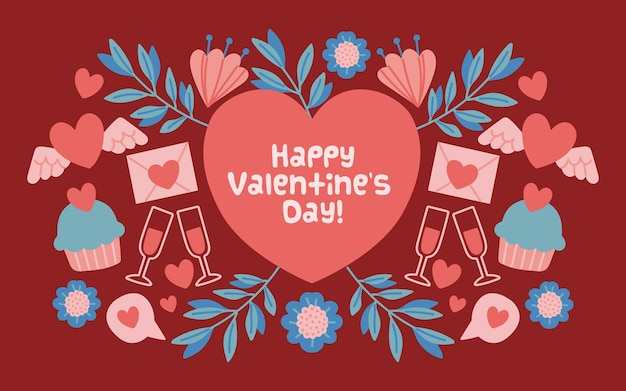 Valentine's day background with heart and greeting
