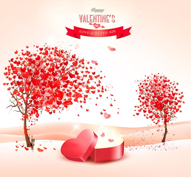 Valentine`s day background with an heart shaped gift box.