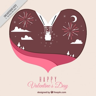 Valentine's day background with heart-shaped