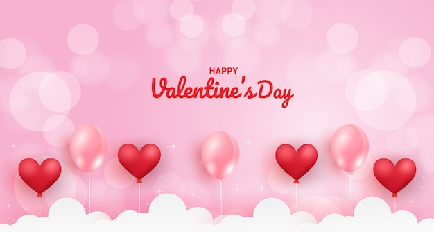 Valentine's day background with hearts balloons on a pink background.