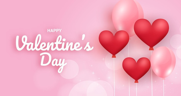 Valentine's day background with hearts balloons.