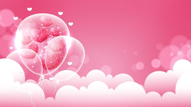 Valentine's day background with hearts and clouds