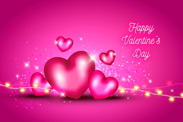 Valentine's day background with hearts and glitter