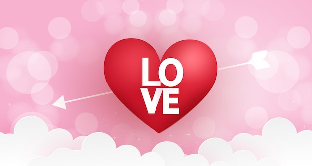 Valentine's day background with hearts on a pink background.