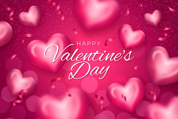 Valentine's day background with hearts in realistic style