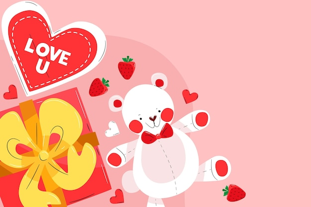 Valentine's day background with hearts and teddy bear