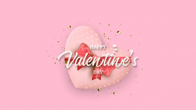 Valentine's day background with an illustration of a love gift box under white writing