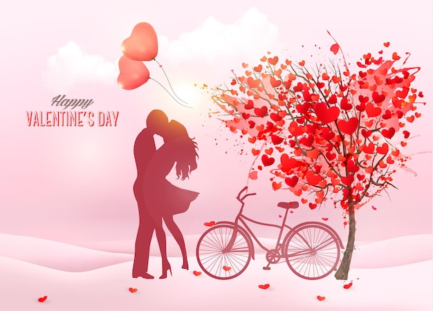 Valentine's day background with a kissing couple silhouette, heart shaped tree and a box.