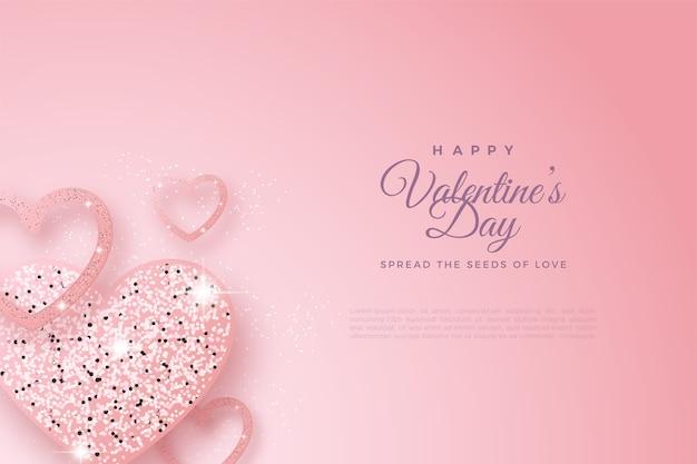 День святого валентина фон с формами любви и блеска.