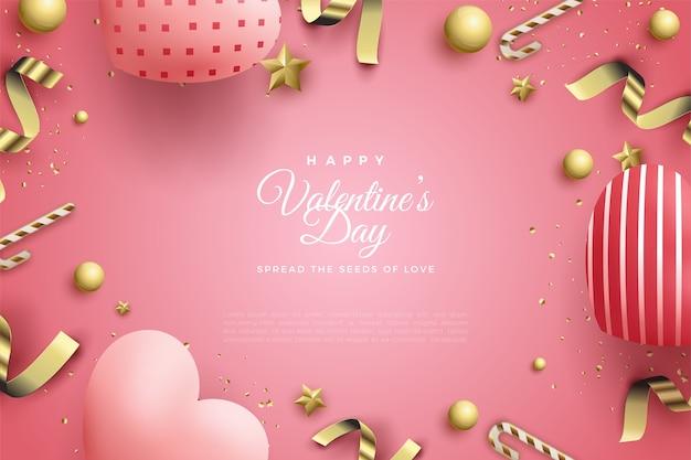 Фон дня святого валентина с воздушными шарами любви и золотыми лентами.
