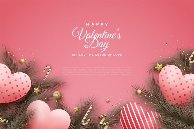 Предпосылка дня валентинки с воздушными шарами любви и листьями сосны. Premium векторы
