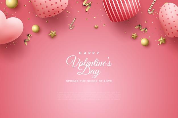 Фон дня святого валентина с воздушными шарами любви и всплеск золотых украшений.