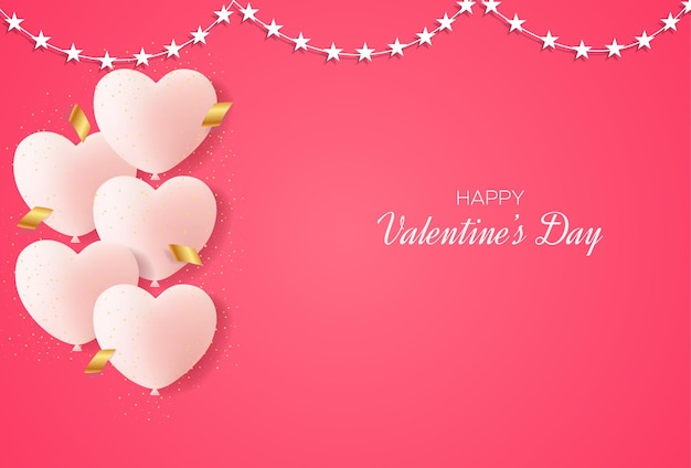 Valentine's day background with love balloons and confetti