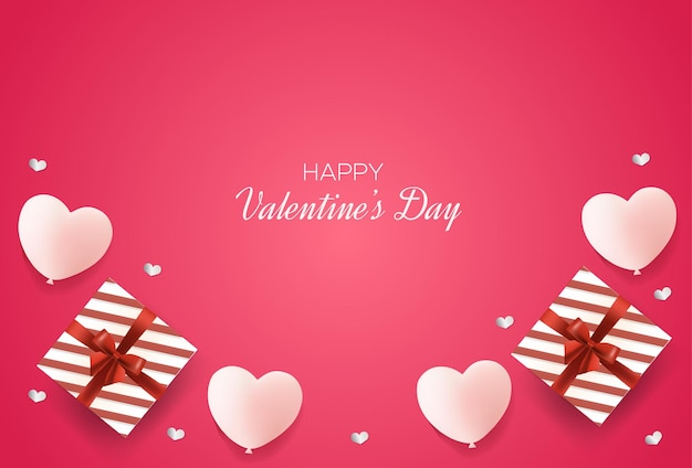Valentine's day background with love balloons and gift boxes