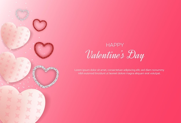 Valentine's day background with love balloons and glitter