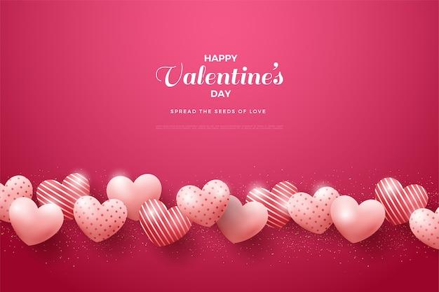 День святого валентина фон с любовными воздушными шарами выстроились в линию.