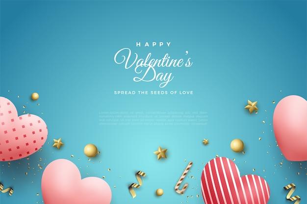 День святого валентина фон с любовными воздушными шарами на синем фоне.