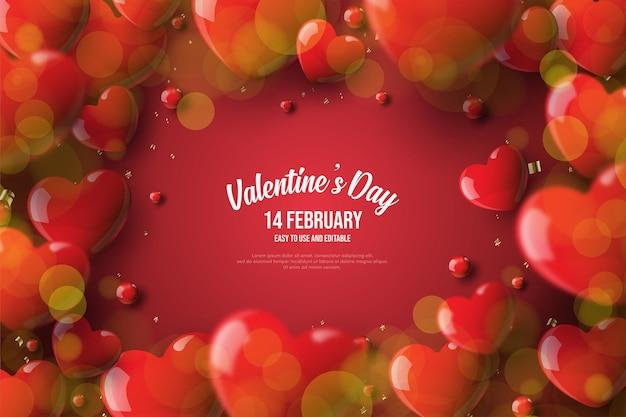 День святого валентина фон с любовными воздушными шарами, окружающими текст.