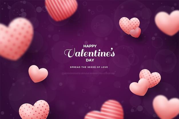 Предпосылка дня святого валентина с воздушными шарами размытия любви.